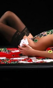 Topless Model on Poker Table