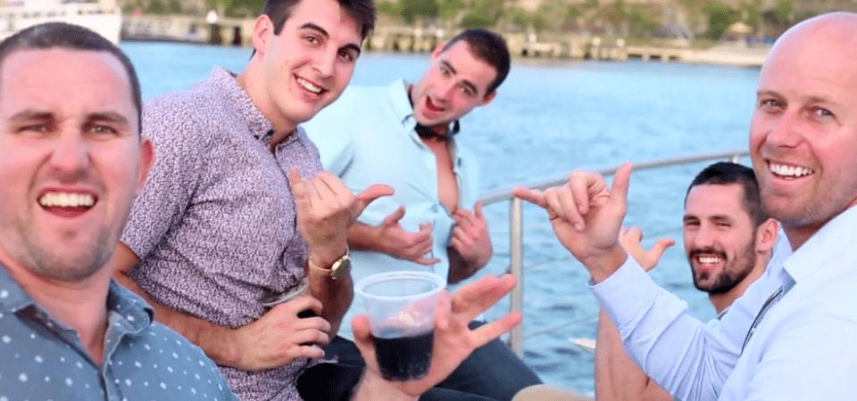 Boys having drinks at Sydney Boat Cruise on Sydney harbour banner1