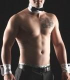 Topless waiter Nathan