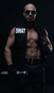 Police costume male stripper in NSW
